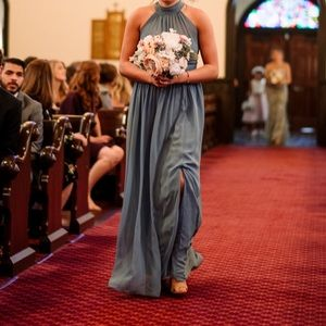 Levkoff Slate Blue Bridesmaid Dress Size 8